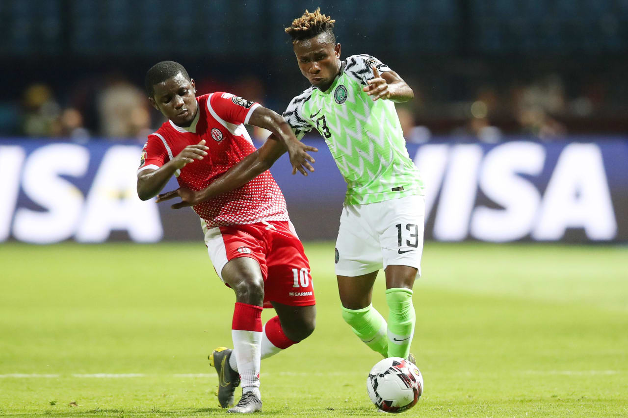 Samuel Chukwueze of Nigeria challenged by Shassiri Nahimana of Burundi during the 2019 Africa Cup of Nations Finals match between Nigeria and Burundi at the Alexandria Stadium, Alexandria on the 22 June 2019 ©Muzi Ntombela/BackpagePix
