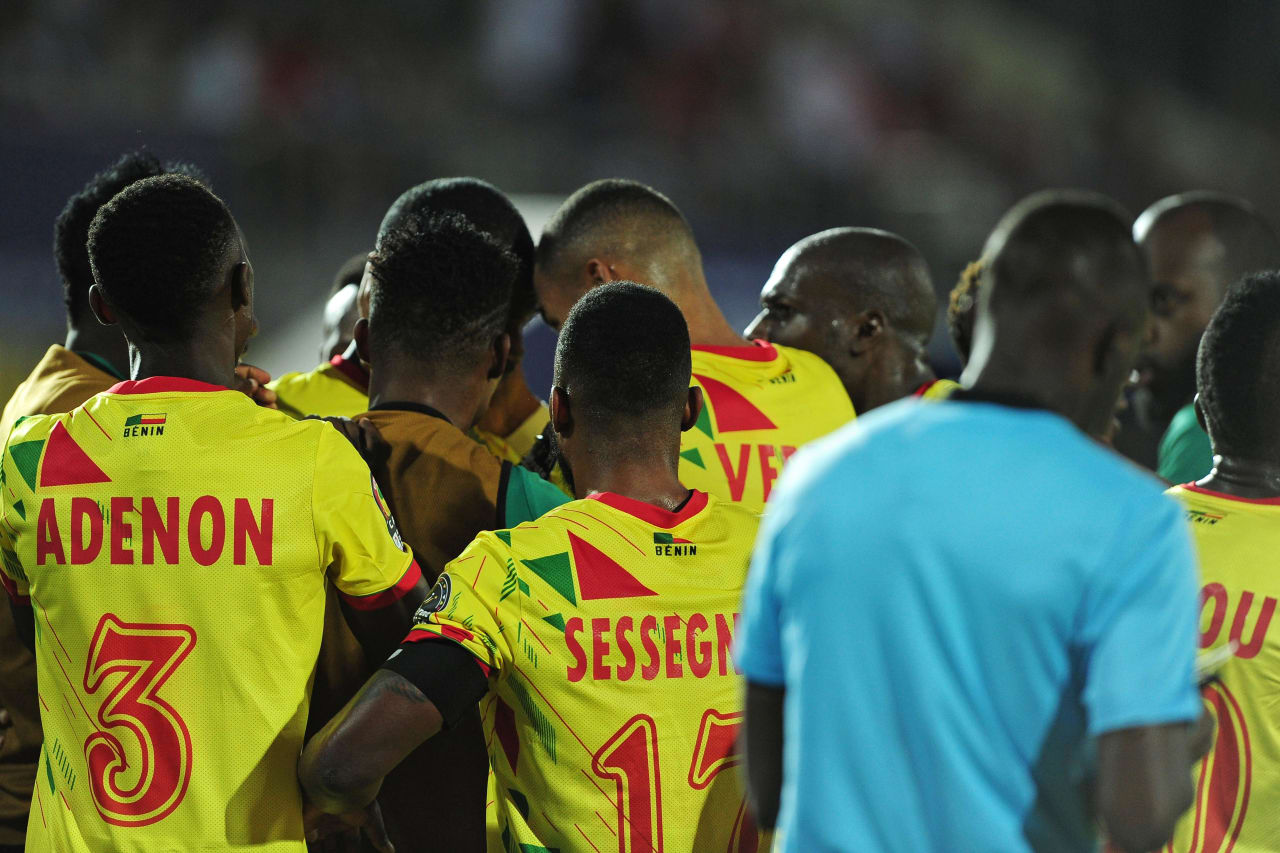 Benin players celebrate a goal scored by Moise Adilehou of Benin during the 2019 Africa Cup of Nations Finals last 16 match between Morocco and Benin at the Al Salam Stadium in Cairo, Egypt on 05 July 2019 © Ryan Wilkisky/BackpagePix