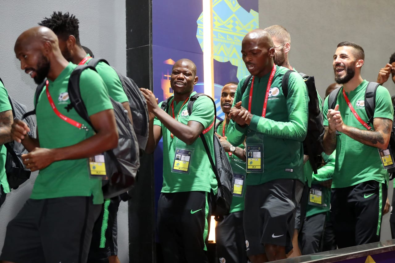 South Africa players arrivals during the 2019 Africa Cup of Nations Finals last 16 match between Egypt and South Africa at Cairo International Stadium, Cairo, Egypt on 06 July 2019 ©Samuel Shivambu/BackpagePix