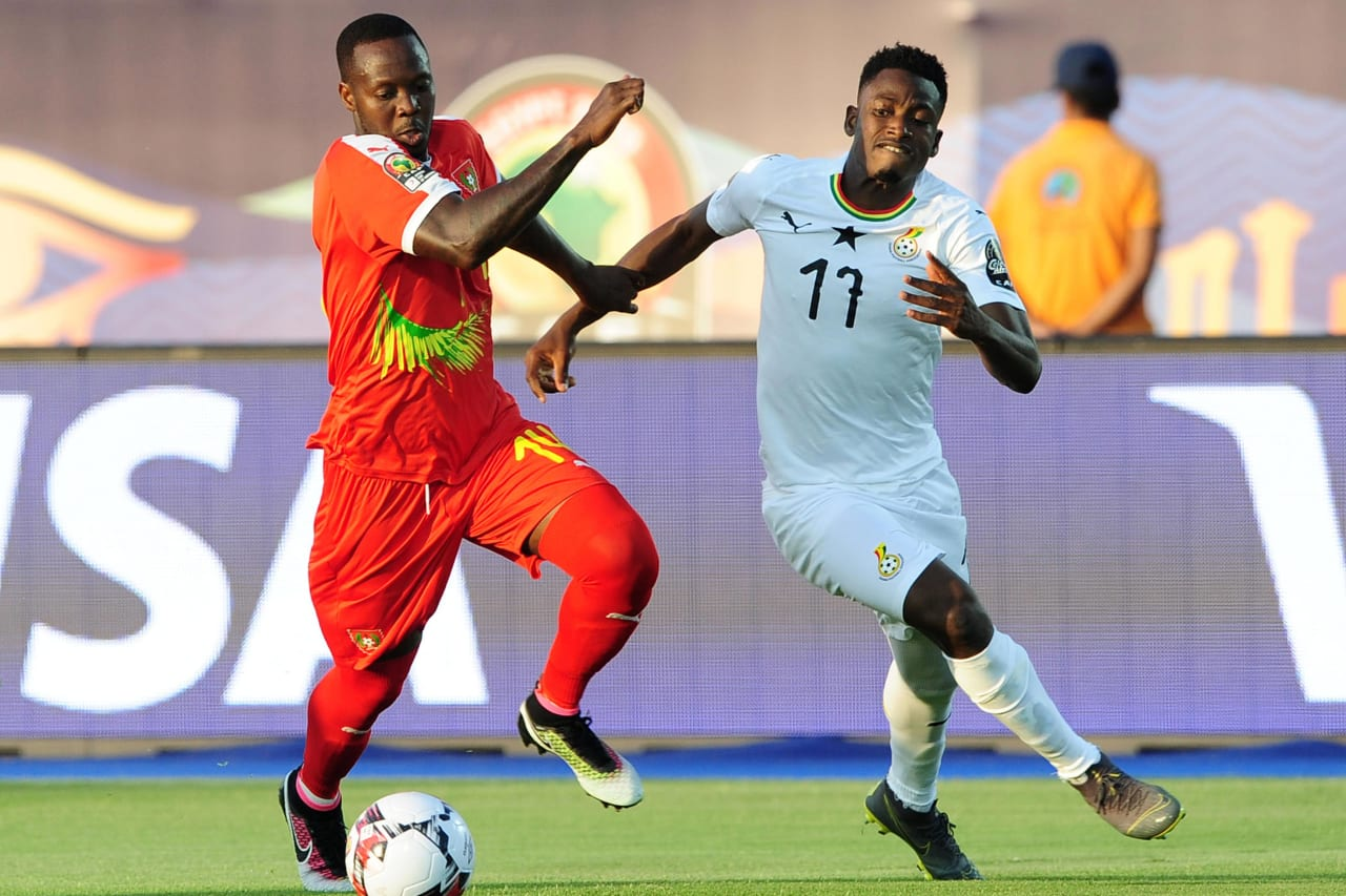 Abdul Rahman Baba of Ghana takes on Juary Soares of Guinea-Bissau during the 2019 Africa Cup of Nations Finals football match between Guinea Bissau and Ghana at the Suez Stadium, Suez, Egypt on 02 July 2019 © Ryan Wilkisky/BackpagePix