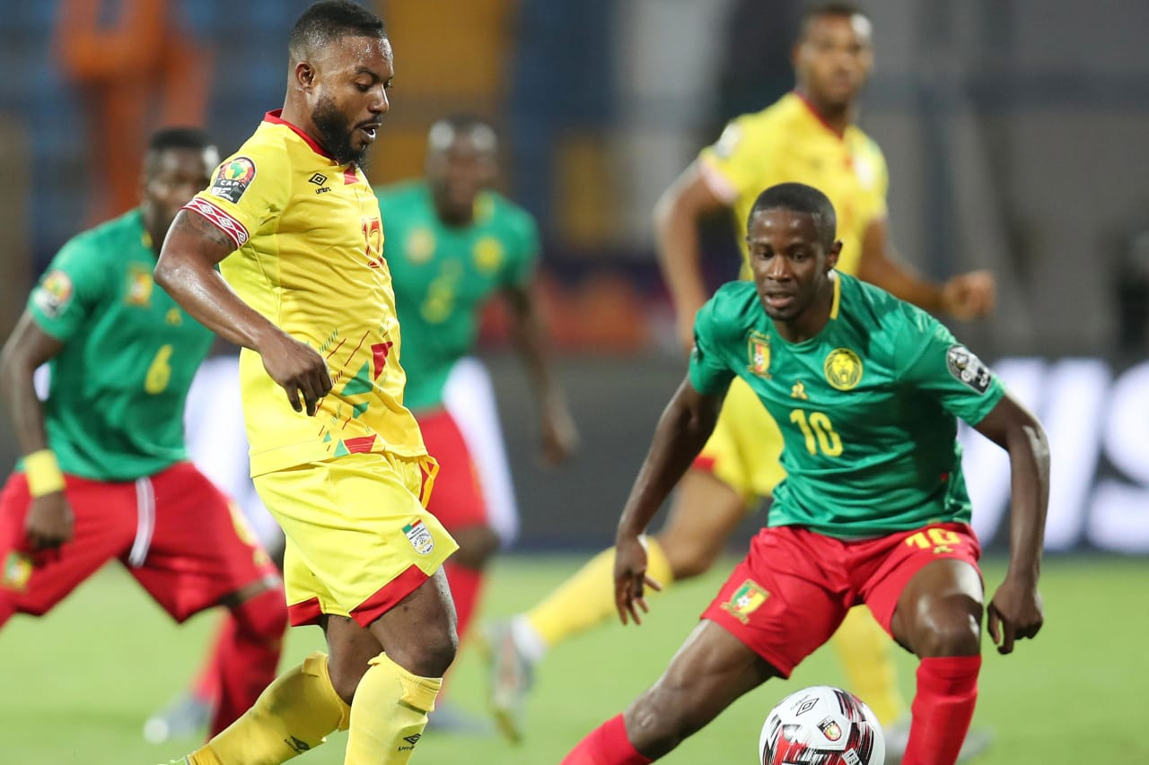 Stephane Sessegnon of Benin challenged by Arnaud Djoum of Cameroon during the 2019 Africa Cup of Nations match between Benin and Cameroon at the Ismailia Stadium, Ismailia on the 02 July 2019 ©Muzi Ntombela/BackpagePix