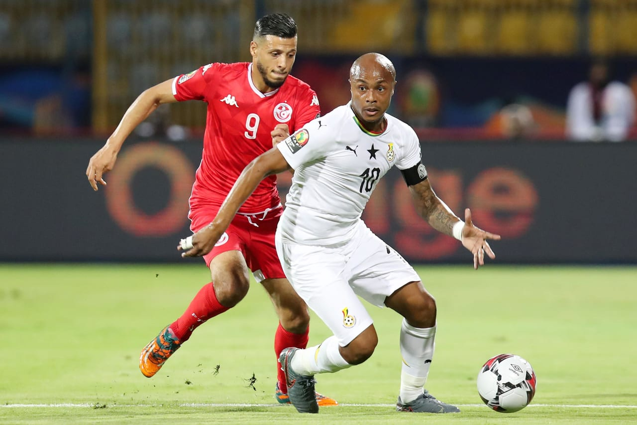 Andre Ayew of Ghana challenged by Anice Badri of Tunisia during the 2019 Africa Cup of Nations Last 16 match between Ghana and Tunisia at the Ismailia Stadium, Ismailia on the 08 July 2019 ©Muzi Ntombela/BackpagePix