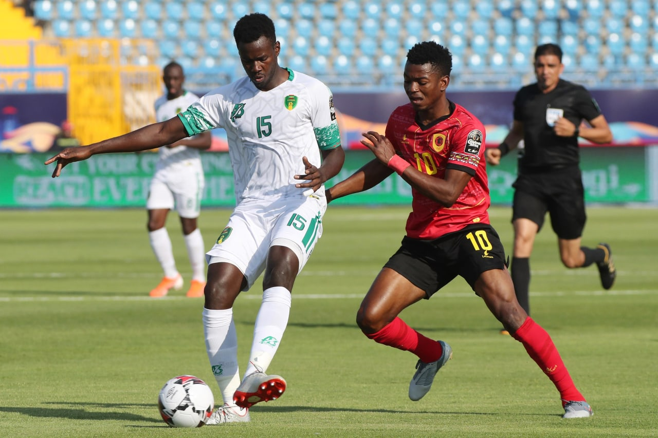 Bakary N'Diaye of Mauritania challenged by Jacinto Gelson Dala of Angola  during the 2019 Africa Cup of Nations Finals football match between Mauritania and Angola  at the Suez Stadium, Suez, Egypt on 29 June 2019 ©Gavin Barker/BackpagePix