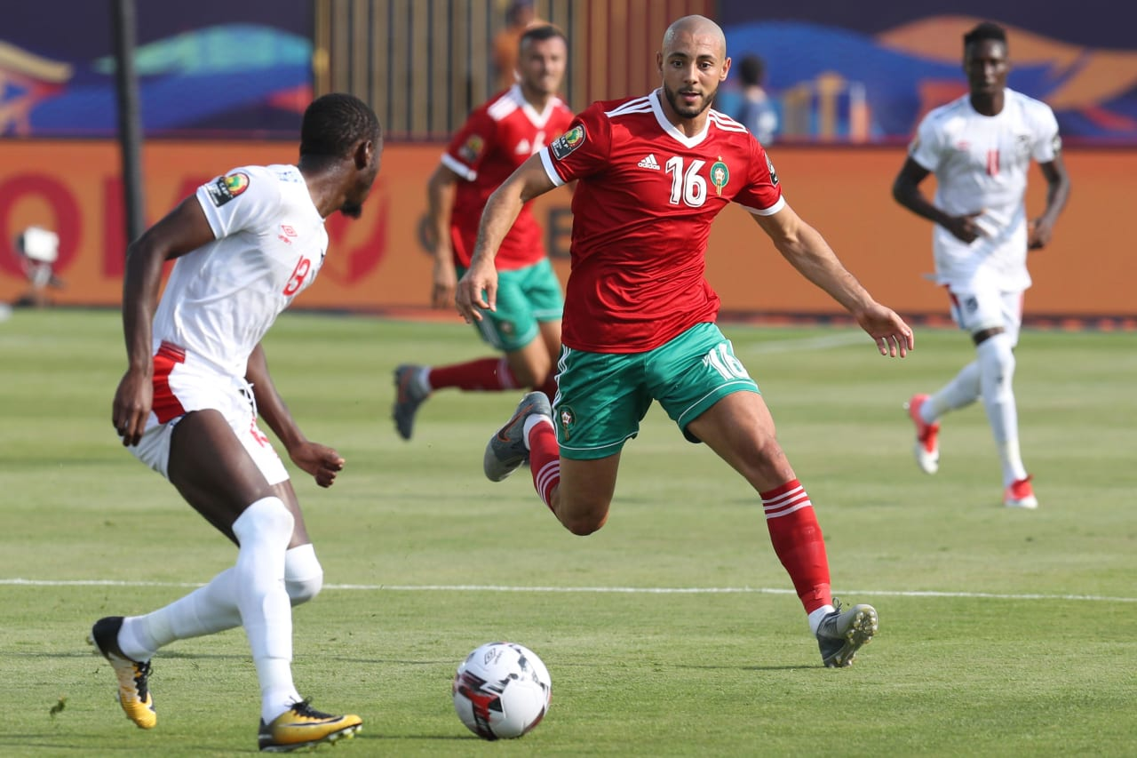 Nordin Amaabat of Morocco CHALLENGED BY Peter Shalulile of Namibia during the 2019 Africa Cup of Nations Finals match between Morocco and Namibia at Training at Al-Salaam Stadium, Cairo, Egypt on 23 June 2019 ©Samuel Shivambu/BackpagePix