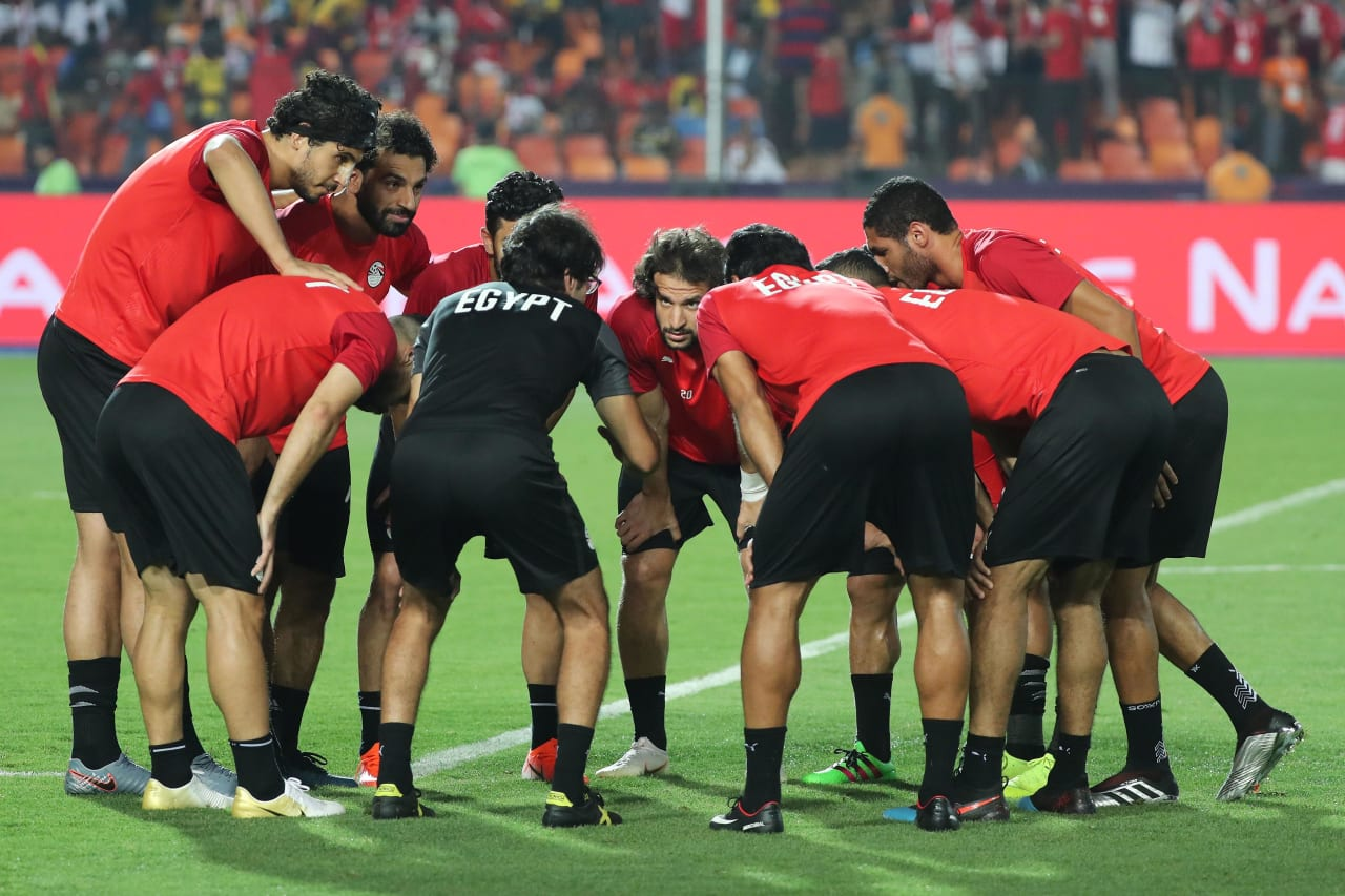 Egypt player group in huddle during the 2019 Africa Cup of Nations Finals football match between Egypt and DR Congo at the Cairo International Stadium, Cairo, Egypt on 26 June 2019 ©Gavin Barker/BackpagePix