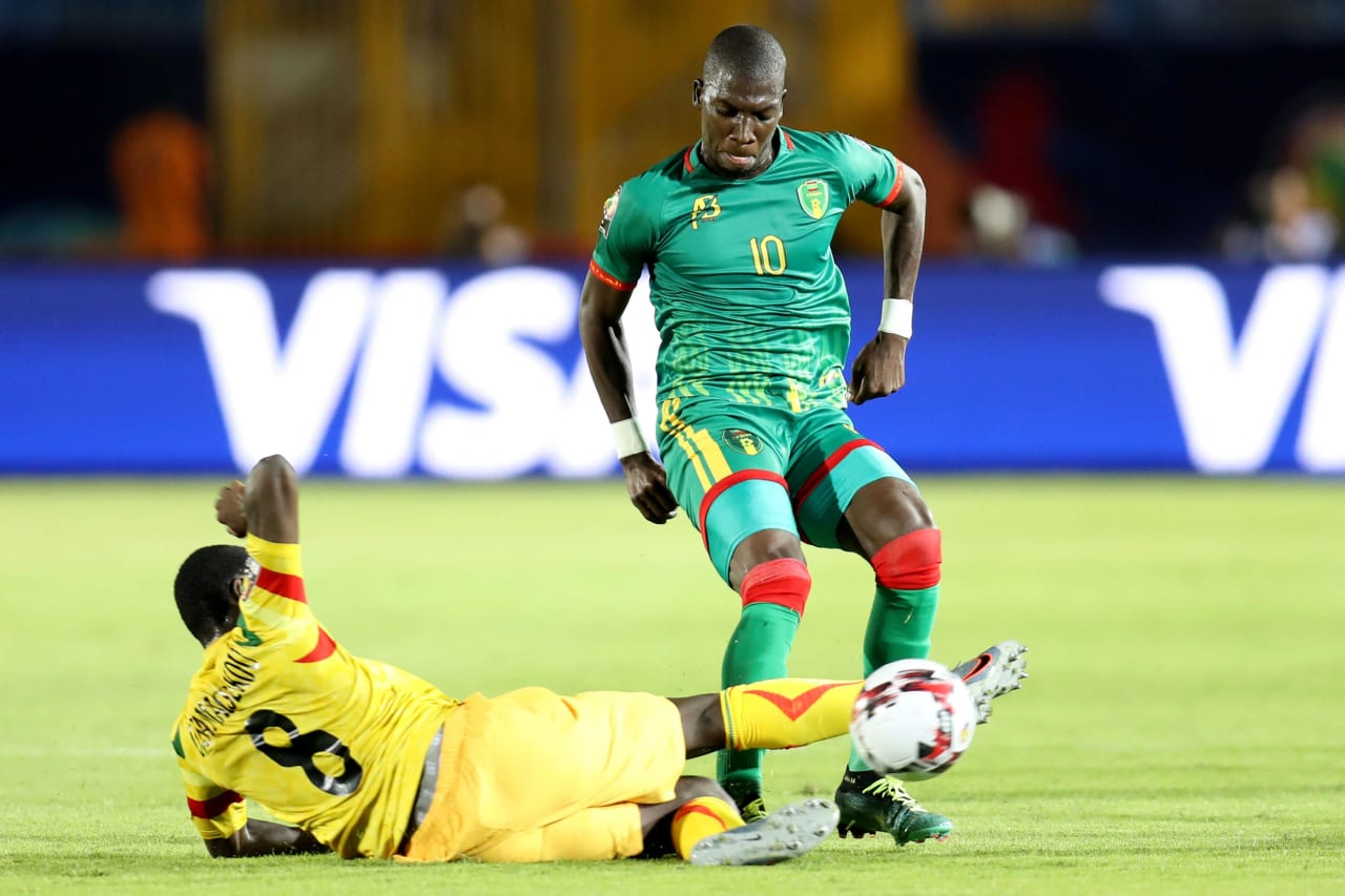 Adama Ba of Mauritania tackled by Diadié Samassékou of Mali during the 2019 Africa Cup of Nations Finals football match between Mali and Mauritania at Suez Army Stadium, Suez, Egypt on 24 June 2019 ©Samuel Shivambu/BackpagePix