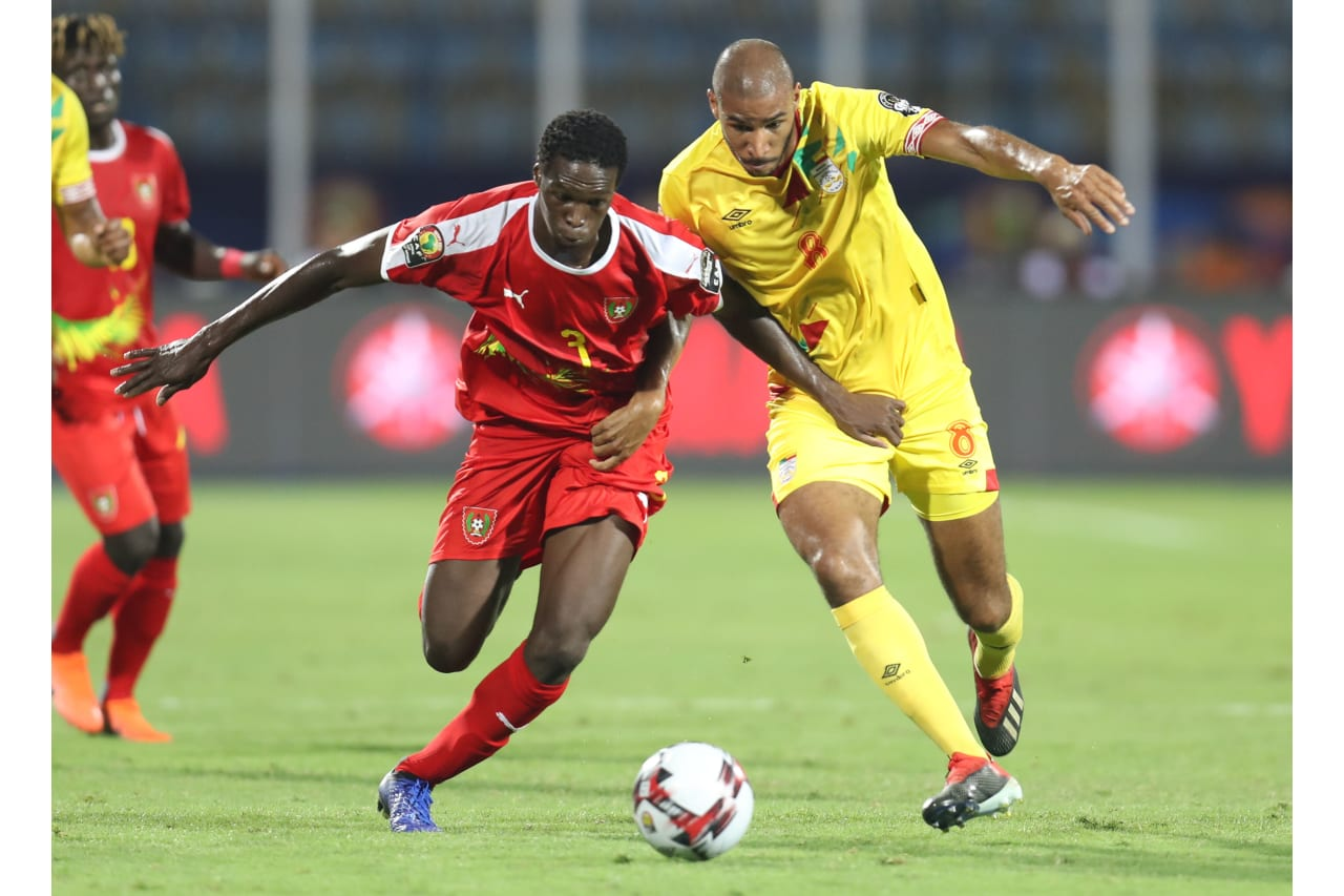 Braima Jorge of Guinea-Bissau challenged by Jordan Souleymane Adeoti of Benin during the 2019 Africa Cup of Nations Finals Benin and Guinea-Bissau at Ismailia Stadium, Ismailia, Egypt on 29 June 2019