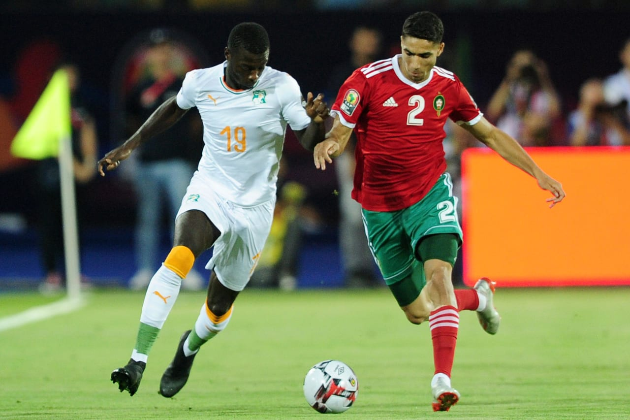 Nicolas Pepe of Ivory Coast takes on Achraf Hakimi of Morocco during the 2019 Africa Cup of Nations Finals match between Morocco and Ivory Coast at Al Salam Stadium in Cairo, Egypt on 28 June 2019 © Ryan Wilkisky/BackpagePix