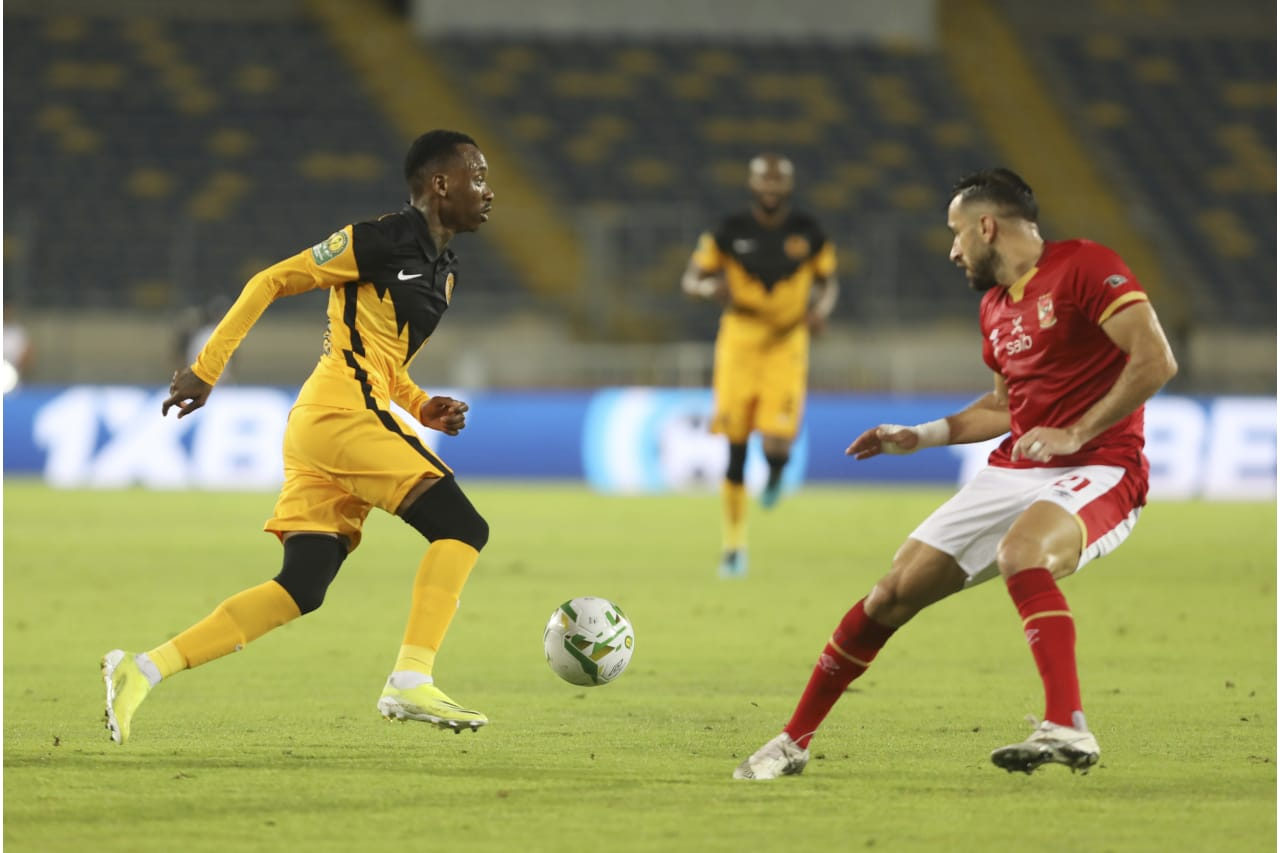 Khama Billiat of Kaizer Chiefs and Ali Maaloul of Al Ahly during the 2021 CAF Champions League Final between Kaizer Chiefs and Al Ahly at the Mohamed V Stadium in Casablanca, Morocco on 17 July 2021 ©Fareed KotbB
