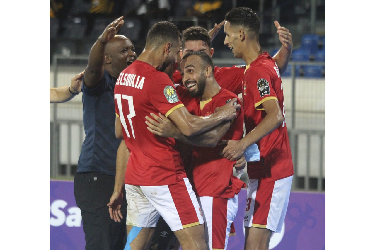 Mohamed Moursy Afsha of Al Ahly (c) celebrates goal with teammates during the 2021 CAF Champions League Final between Kaizer Chiefs and Al Ahly at the Mohamed V Stadium in Casablanca, Morocco on 17 July 2021 ©Far