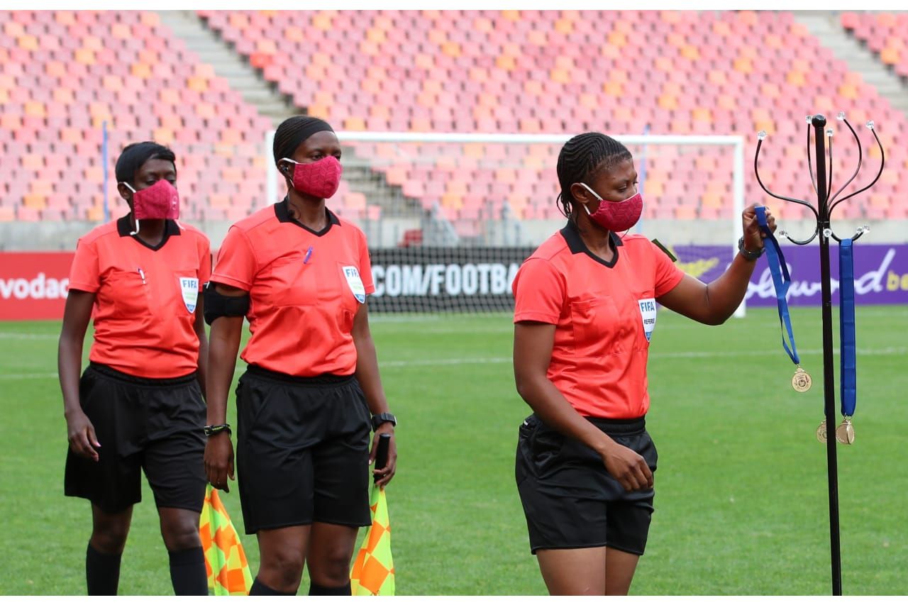 Referees during the 2020 COSAFA Womens Cup Final match between Botswana and South Africa at the Nelson Mandela Bay Stadium, Port Elizabeth on the 14 November 2020 ©Muzi NtombelaBackpagePix